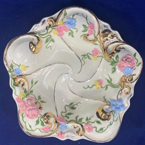 Vtg Porcelain Trinket Tray Hand Painted Pink & Blue Flowers Gold - 1955 Signed