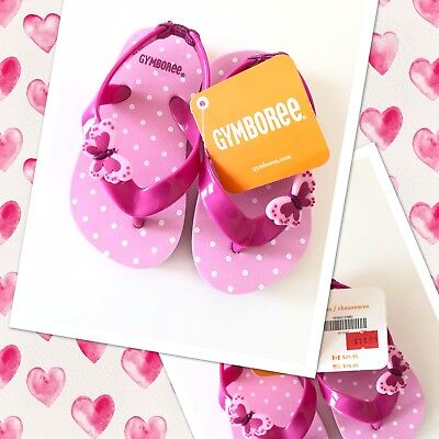 NWT Gymboree Pink Girls Flip Flops/Sandals Butterfly Size 5-6