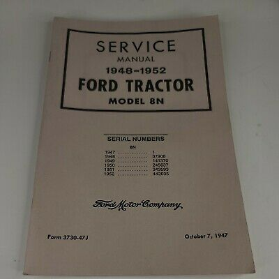 Ford 8n Tractor Service Repair Manual Chassis 1948-1952