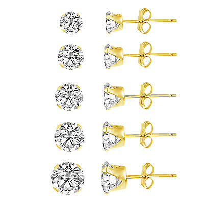 Yellow Gold Plated Silver 925 Round Clear CZ Stud Earring set (5 Pairs) 3mm-7mm