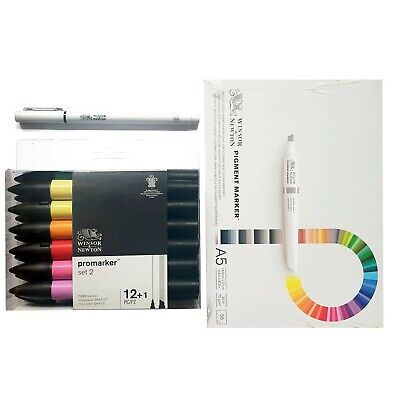 Winsor & Newton Promarker 12+1 Alcohol Marker Set #2 with Fineliner Pen & A5 Pad