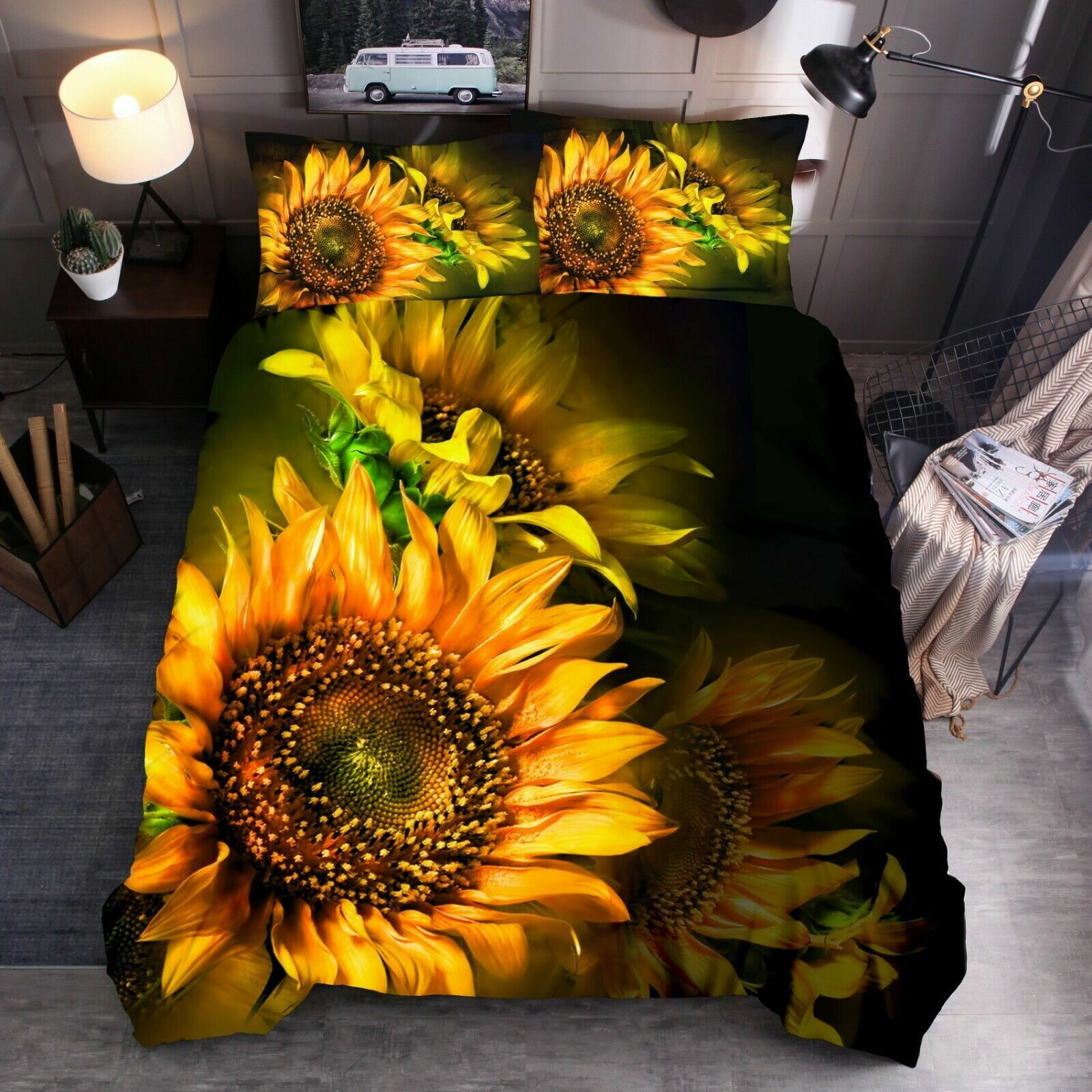 Comforter Cover for Childrens//Kids Twin Size Josid Sunflower and Butterfly Duvet Cover Set 2 Pillow Shams 1 Duvet Cover 3 Pieces Bedding Set with Zipper Closure