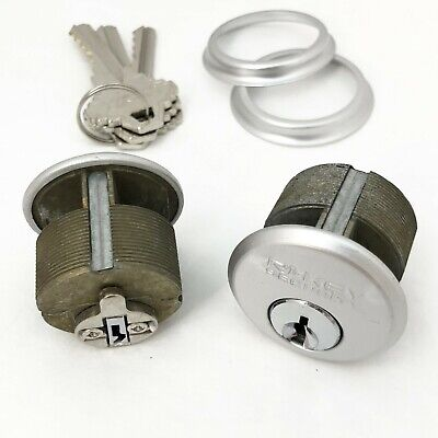 2 New Mortise Lock Cylinders 1 For Store Front Door Adams Rite Brass And 3 Keys