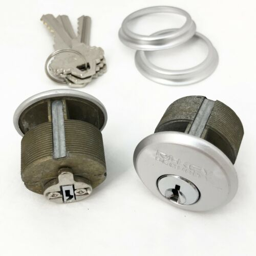 """2 New Mortise Lock Cylinders 1"""" for Store Front Door Adams Rite Brass and 3 Keys"""