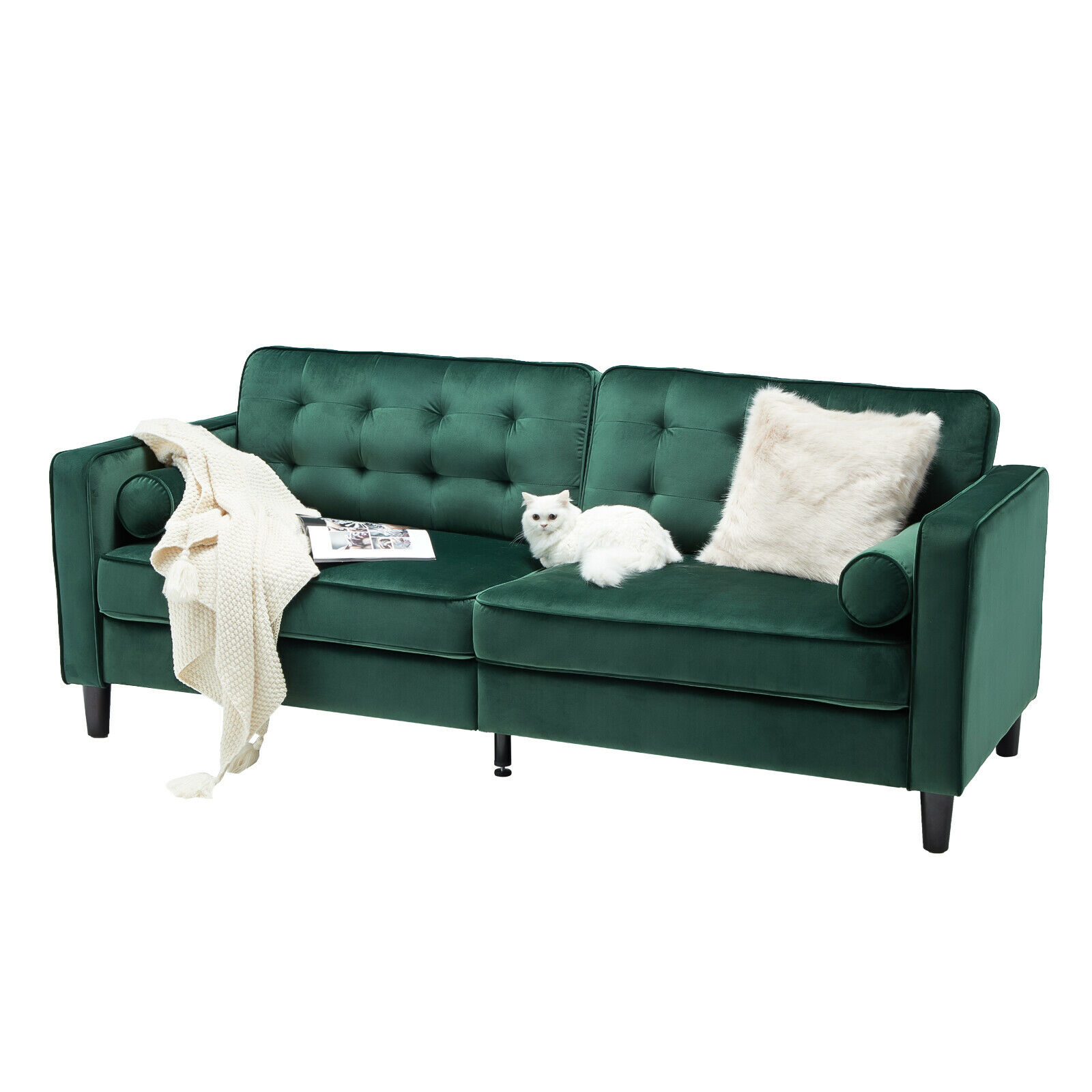 Esright 84.2″ Tufted Velvet Couch Mid Century Modern Sofa Gray & Green Furniture