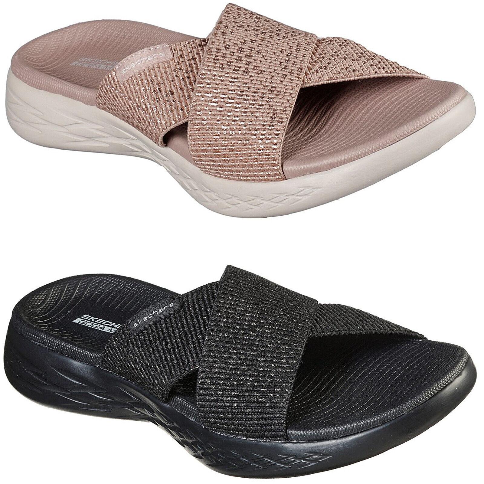 Skechers On The Go 600 Glistening Sandals Womens Summer Goga Slides Flip Flops Ebay