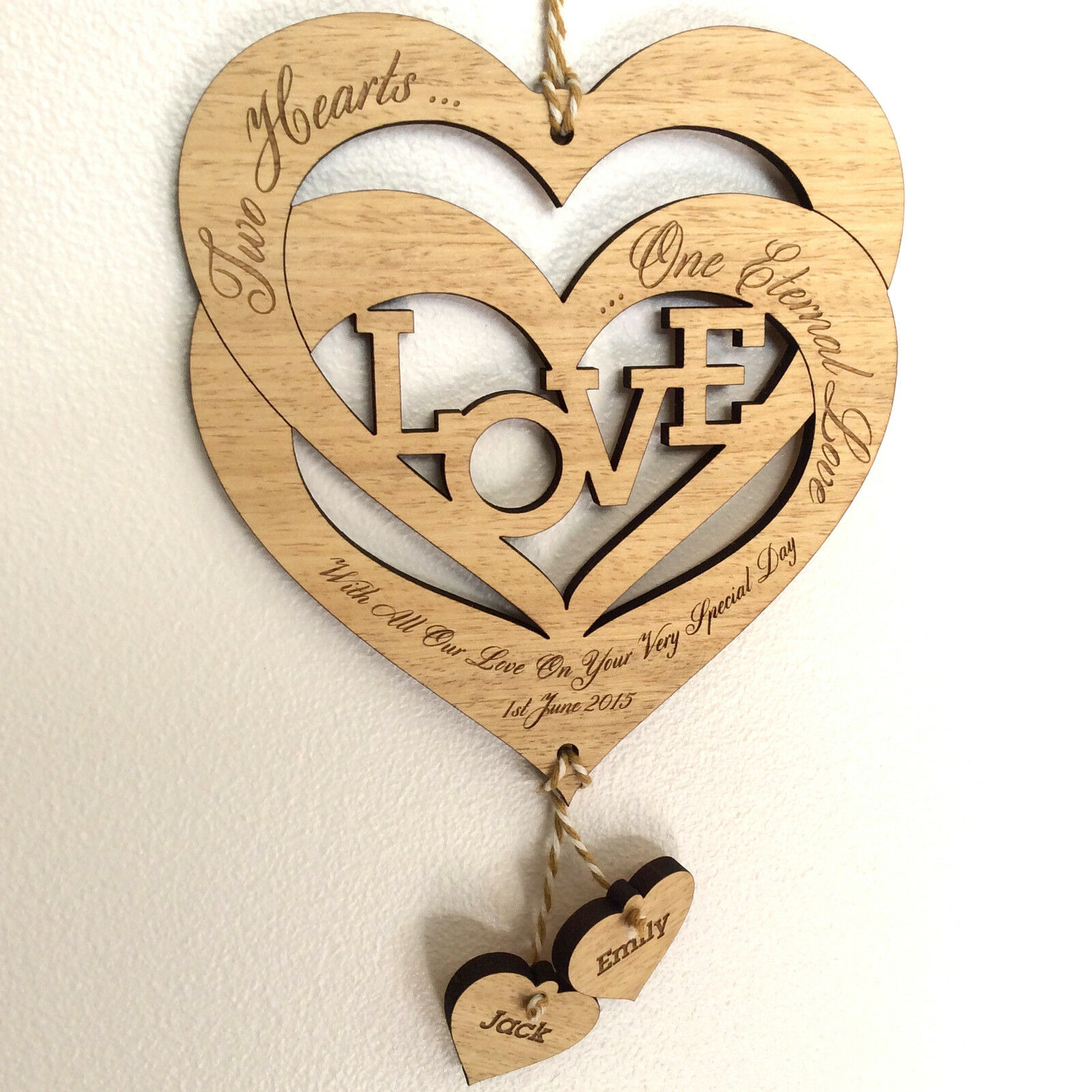 Personalised Valentine S Day Gift Entwined Wood Love