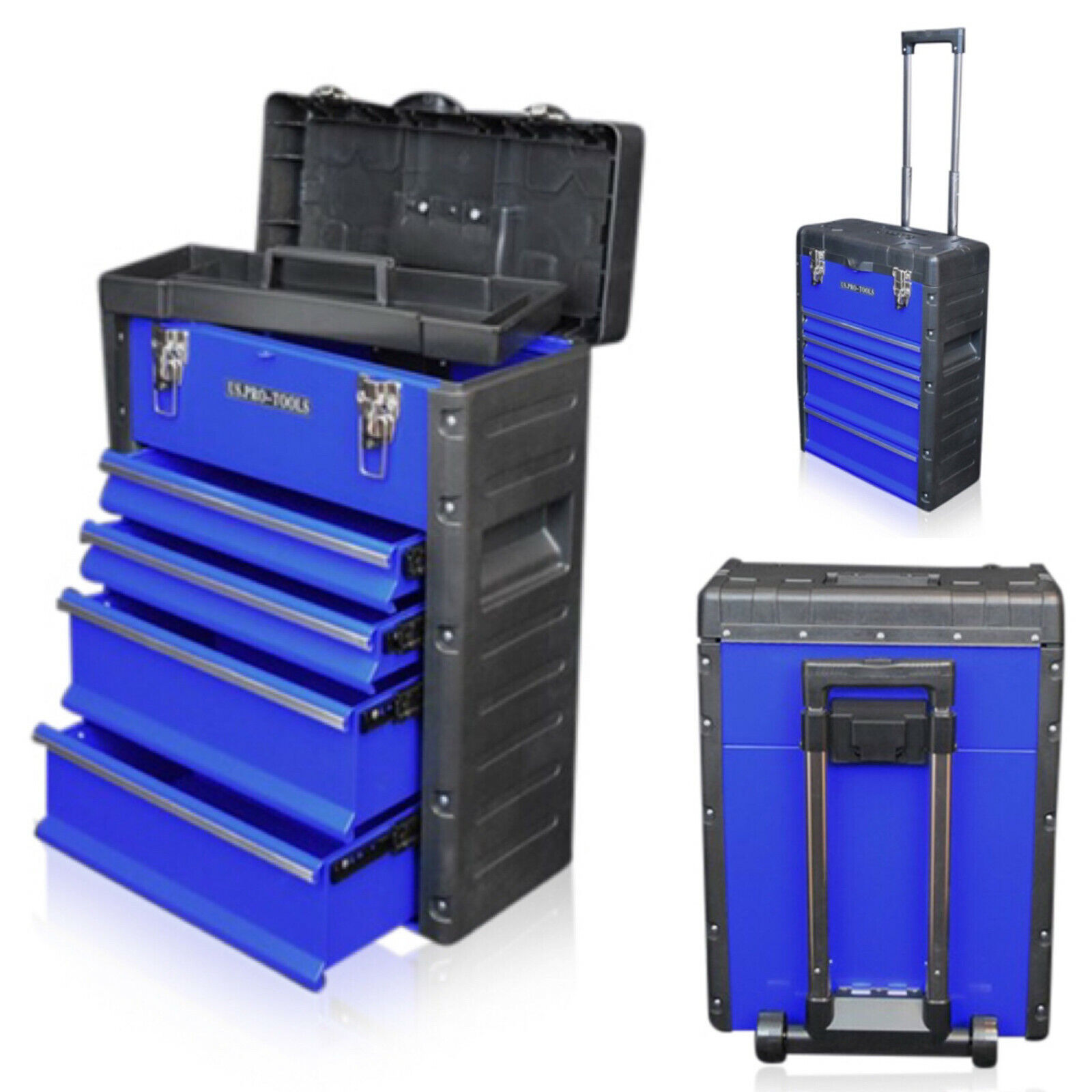 319 US PRO Tools Blue Mobile Roller Chest Trolley Cart ...