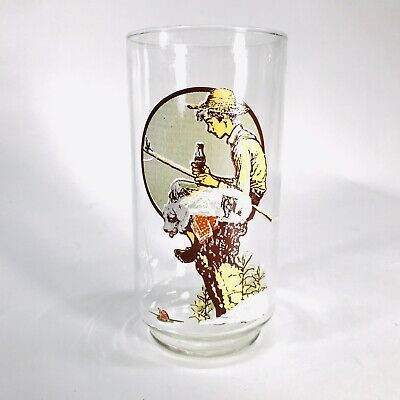 Roman Rockwell Reproduction Archives o Coca Cola Company Glass Cup Dog 5.5
