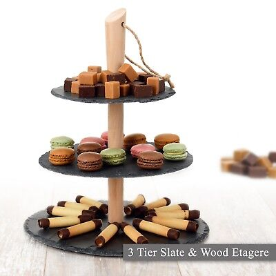 3 Layer Natural Slate Food Stand Tier Round Serving Display Platter Cakes Board