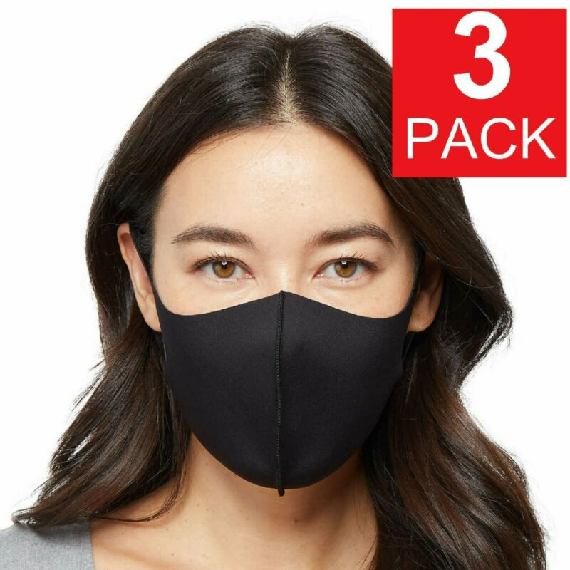 3-Pack Black Soft Cloth Fabric 3D Washable Face Mask / Reusable