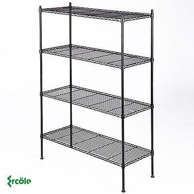 4 Tier 55x36x14 Kitchen Storage Shelving Steel Wire Adjustable Black Shelves