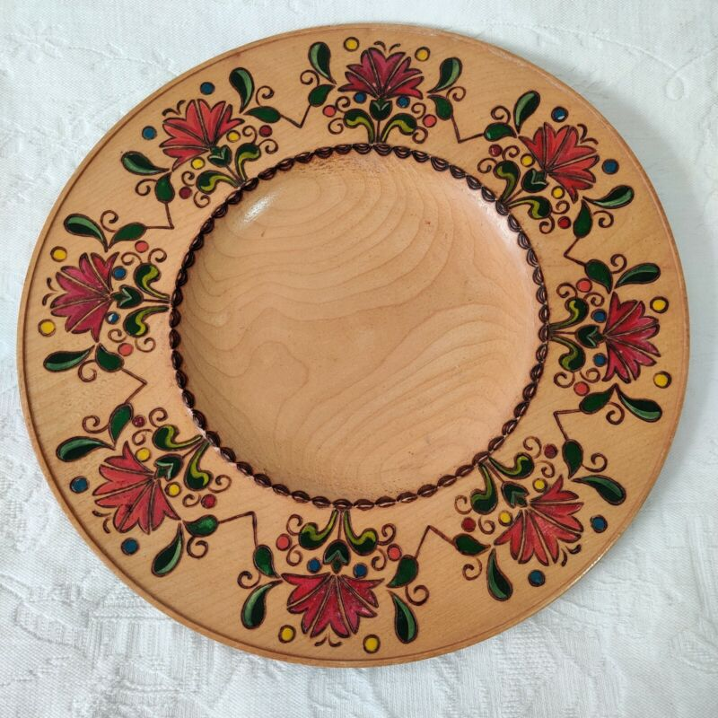 Vintage 1950 Romanian Folk Painted wooden plate 12inches Dear Bride at back