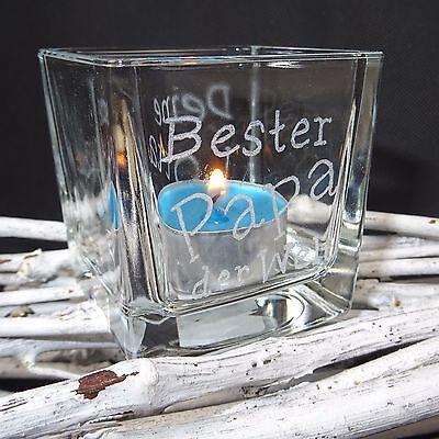 ♥ Personalisiertes Geschenk zum Vatertag Teelichtglas Windlicht Namensgravur ♥