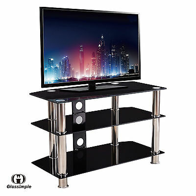 "مكتبة تلفزيون جديد Black 3-Tier 15""-60"" Plasma LCD TV Shelves Tempered Glass TV Stand"