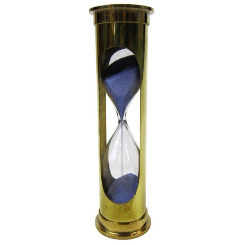 Brass 3-minute Sand Timer - Hourglass, Blue Sand
