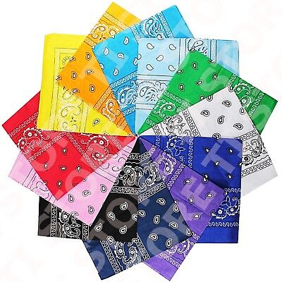 Print Bandanas (Lot Of 12 Paisley Print Scarf Bandanas 100% Cotton 1 Dozen Multi Colors)