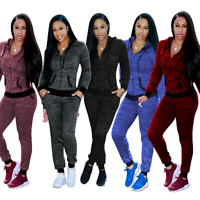 Women Ladies 2Pcs Casual Hoody Tops Sweatshirt Track Pants Sweat Suits Tracksuit