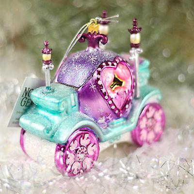 Princess Cinderella Carriage 4 inch Kurt Adler Glass Christmas Ornament F00 NEW