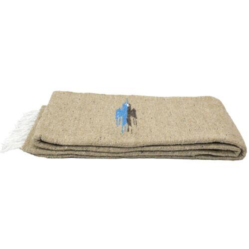 Mexican Yoga Blanket Vintage Style Thunderbird Tan Khaki Brown Serape Falsa