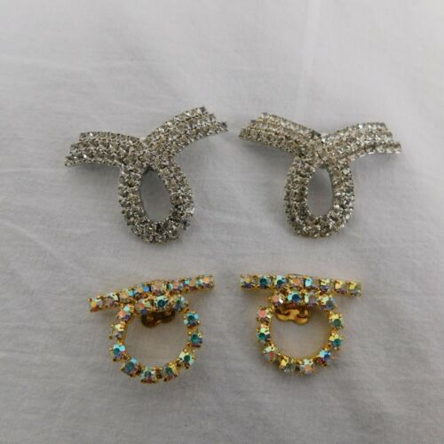 Estate Rhinestone Crystal Shoe Clips Charms Circle Shiny Vintage Jewels  2 Pairs