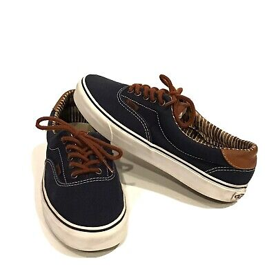 Men's Vans Off the Wall 721356 Size 9 Navy Blue Brown Leather Skateboard Shoes