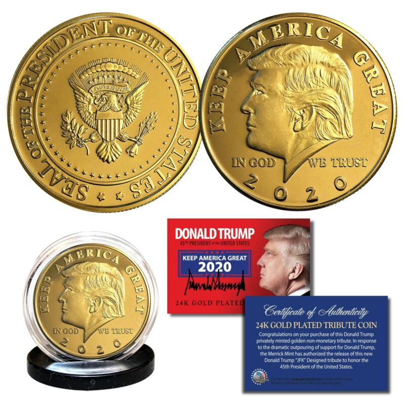 Donald Trump 2020 Keep America Great 45th President 24K Gold Clad Tribute Coin