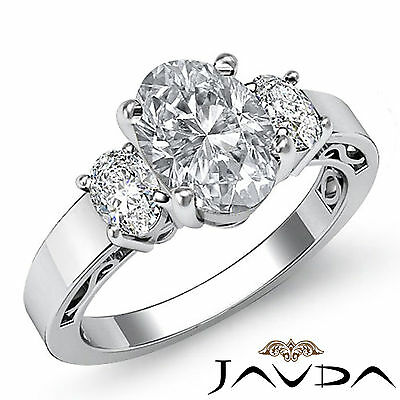 Filigree Shank 3 Stone Prong Set Oval Diamond Engagement Ring GIA F VS2 1.45Ct