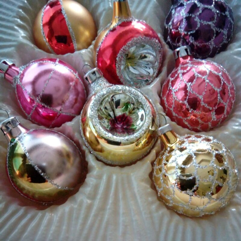 8 COMMODORE ROMANIA Christmas Glass Glitter Ornament Ball Indent Old World Boxed