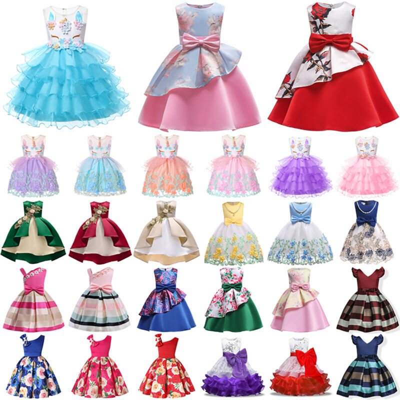 Kinder Mädchen Prinzessin Festkleid Hochzeit Partykleid Abendkleid Ballkleid Neu