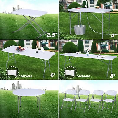 2.5/6/8ft Portable Folding Plastic Dining Table/Chair Indoor Outdoor Camp Picnic](8 Ft Plastic Table)