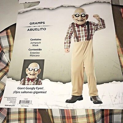 Googly Eye Costume (Grandpa Gramps Old Man Boys Halloween Costume Size L 10 12 Googly Eyes)
