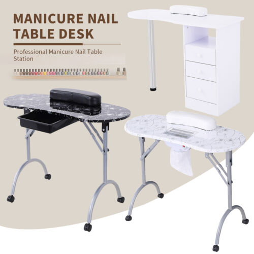 Manicure Nail Table Portable Station Desk Spa Beauty Salon w