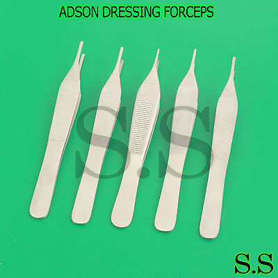 Set Of 5 O.r Grade Assorted Adson Dressing Forceps 4.75 Surgical Instruments