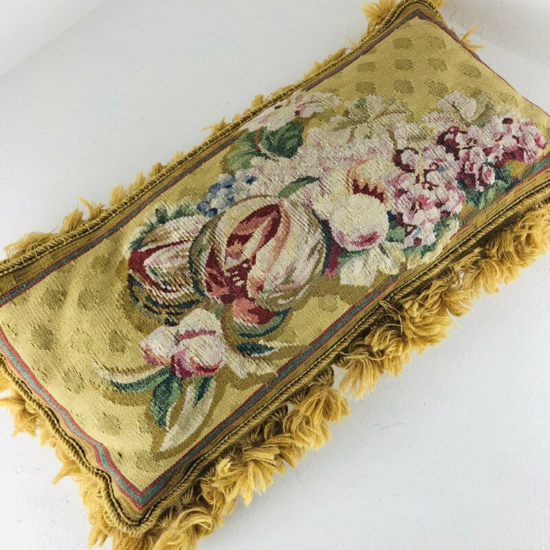 Vintage Embroidery Needlepoint Accent Gold Floral Large Parlor Pillow Cushion