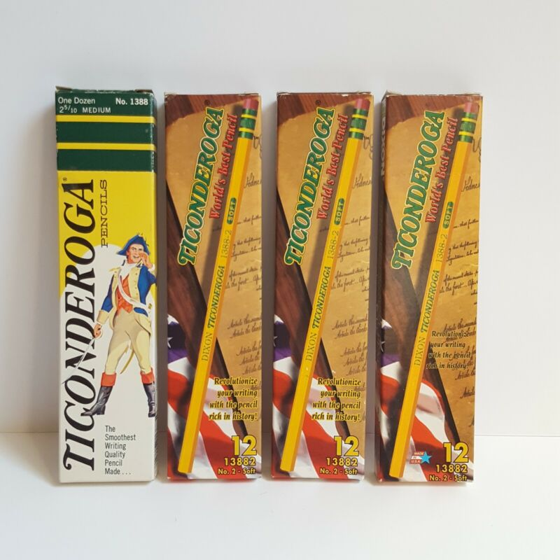 Vintage Ticonderoga Pencils 12 Ct Boxes 1388 and 13882 Lot of 4 READ
