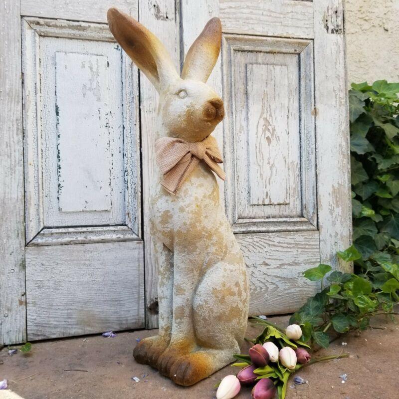 "Rustic Resin Tall Garden Bunny Rabbit Figurine Statue 24"""