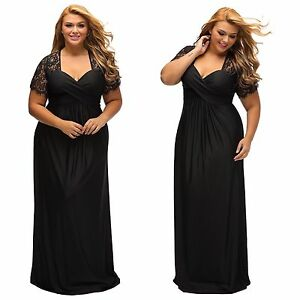 Black Evening Dress plus medium large XL wedding formal gown