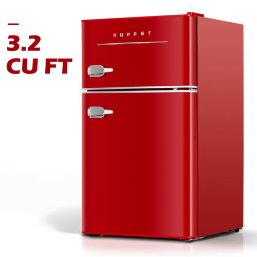 3.2 Cu.Ft Retro Mini Fridge 2-Door Compact Small Refrigerato