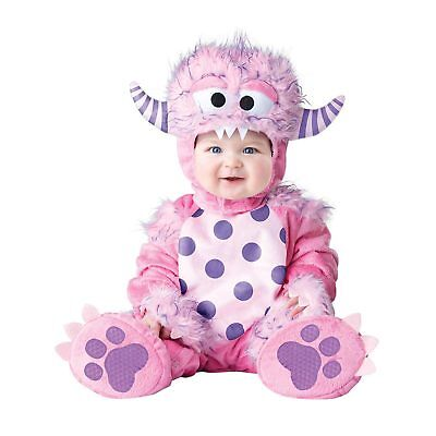 Infant Baby Girls Fuzzy Monsters Inc Pink Halloween Costume Hooded Jumpsuit 0-6M - Monsters Inc Infant Halloween Costumes