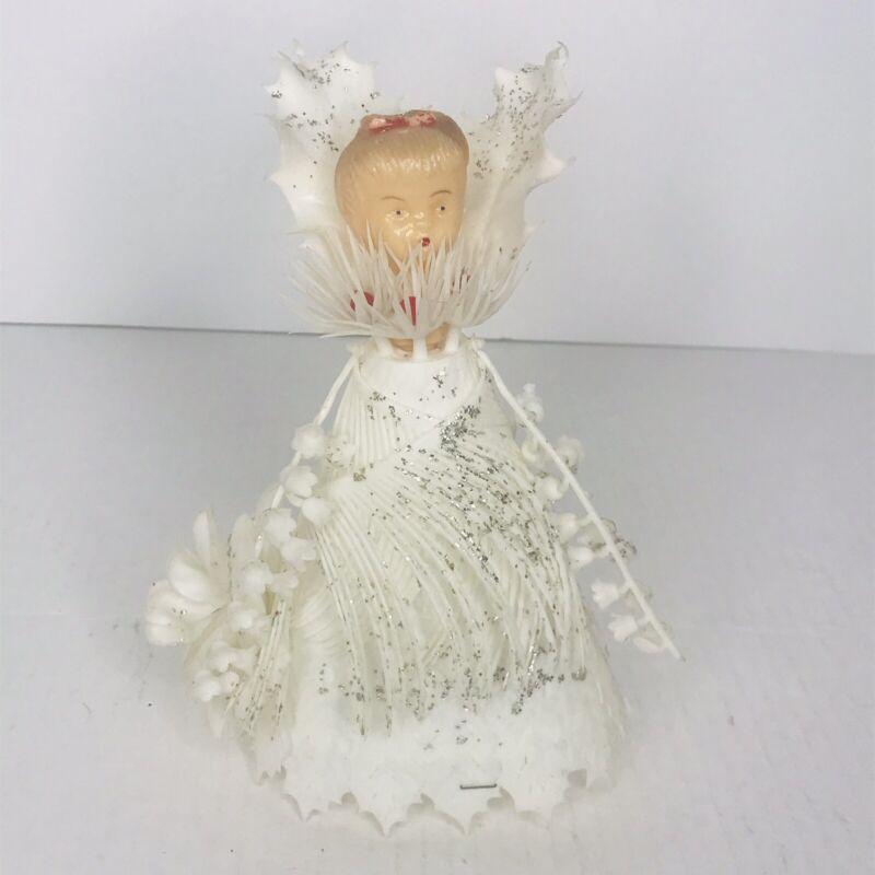 Angel Christmas Tree Topper Vintage Plastic Flowers Glitter