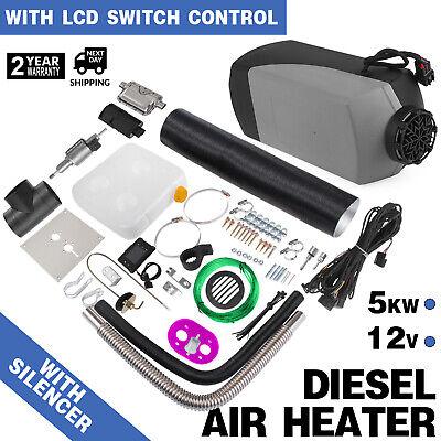 12V 5000W Diesel Air Heater Tank Termostato Marmitta LCD Monitor Trailer Barca