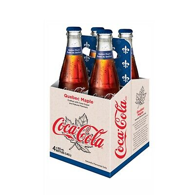 COCA-COLA QUÉBEC MAPLE CANADA LIMITED EDITION GLASS BOTTLES CASE OF 4 (Glasses Cases Canada)