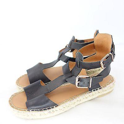 Maypol Mujer Verano Zapatos Sandalias Sandalia Alpargatas Piel Negro Talla 36
