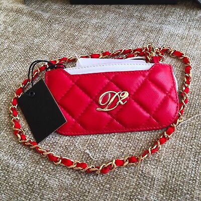 DSQUARED² red quilted leather skinny ID case credit card holder small wallet