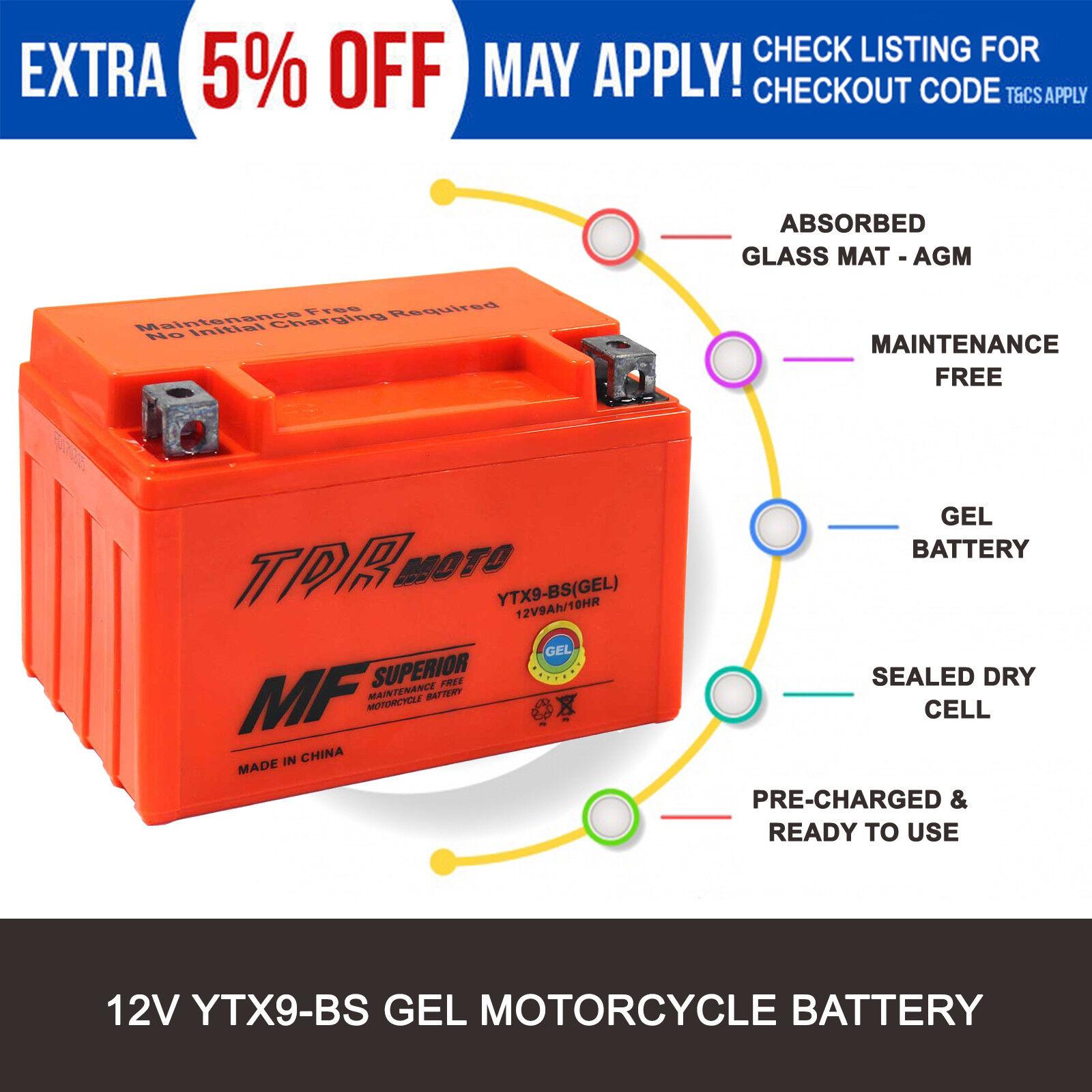 YTX9-BS 12V 9Ah GEL Battery Honda Kawasaki Suzuki Yamaha Triumph KTM Hyosung