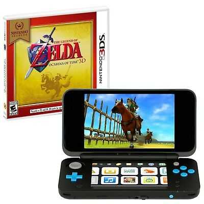 New Nintendo 2Ds Xl Handheld  Black And Turquoise And 3Ds Zelda Ocarina Of Time