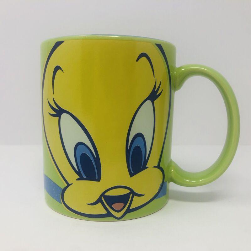 Vintage Tweety Bird Warner Bros Studio Store Coffee Mug Cup Blue Flower 8oz 1998