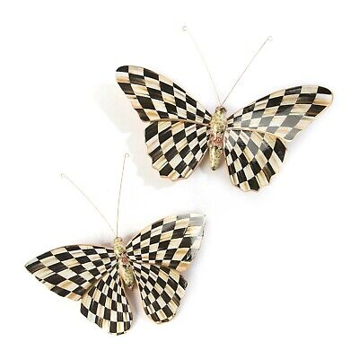 NEW Mackenzie Childs Fanciful COURTLY CHECK BUTTERFLY DUO Wall Decor
