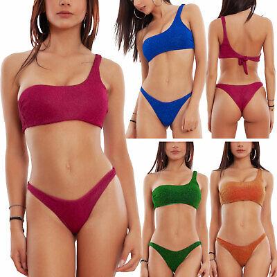 Bikini donna lurex glitter monospalla brasiliana costume mare TOOCOOL C2025